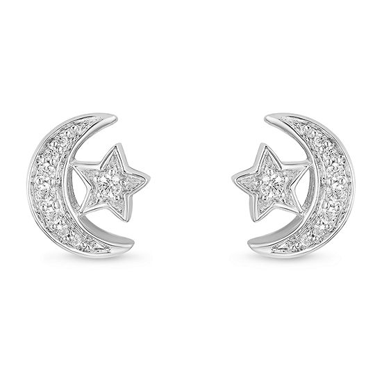 Enchanted Disney Fine Jewelry 1/10 CT. T.W. Genuine Diamond Sterling Silver 8mm Aladdin Stud Earrings