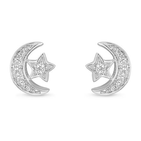 Enchanted Disney Fine Jewelry 1/10 CT. T.W. Genuine Diamond Sterling Silver 8mm Aladdin Stud Earrings, One Size , No Color Family