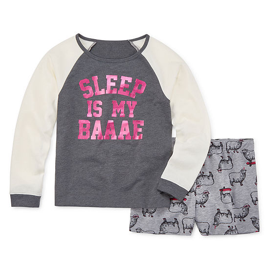 Arizona 2-pc. French Terry Short Pajama Set- Big Girls & Plus