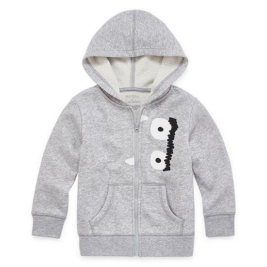 Okie Dokie Fleece Boys Cuffed Sleeve Hoodie-Toddler