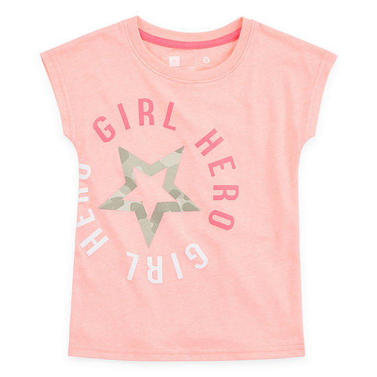 Xersion Girls Crew Neck Short Sleeve Graphic T-Shirt-Toddler