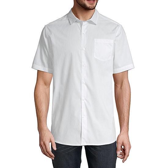 Claiborne Mens Short Sleeve Button Front Shirt