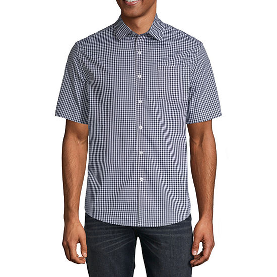 Claiborne Mens Short Sleeve Gingham Button-Front Shirt