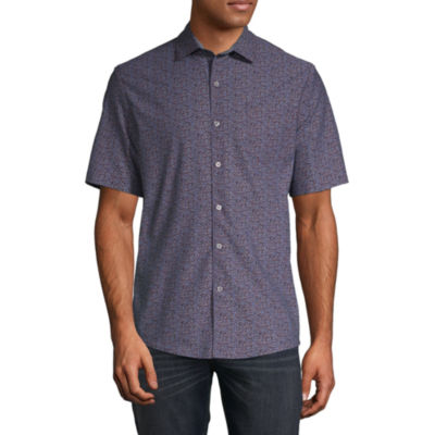 Claiborne Mens Short Sleeve Floral Button-Front Shirt
