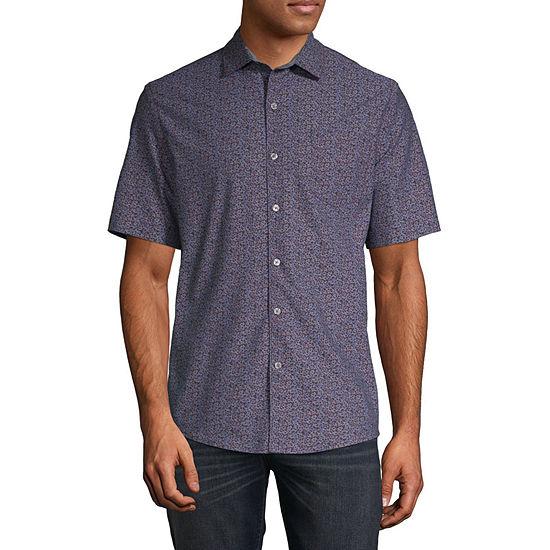 Claiborne Mens Short Sleeve Floral Button-Front Shirt
