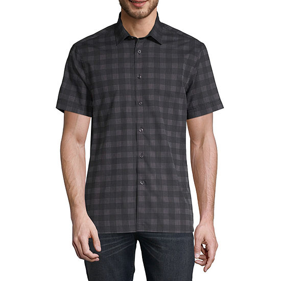 Perry Ellis Mens Short Sleeve Button-Front Shirt
