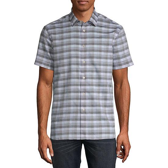 Perry Ellis Mens Short Sleeve Plaid Button-Front Shirt