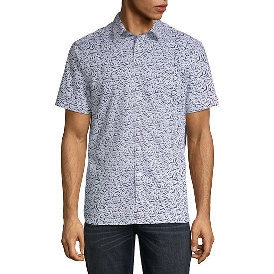 Perry Ellis Mens Short Sleeve Animal Button-Front Shirt
