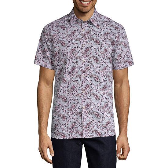 Perry Ellis Mens Short Sleeve Floral Button-Front Shirt
