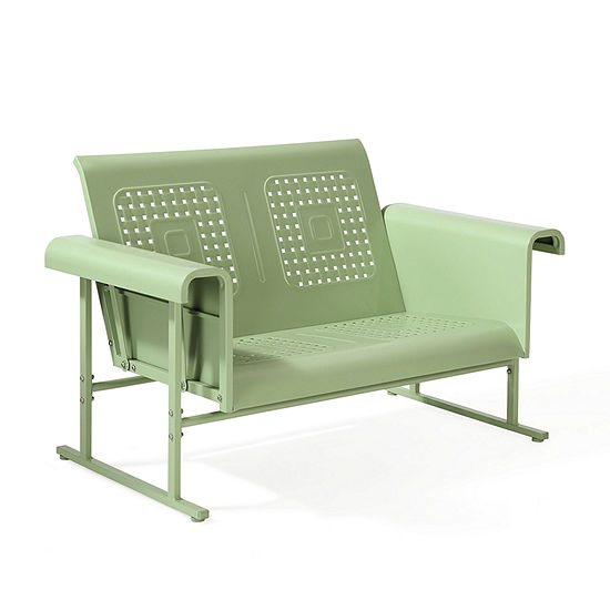 Crosley Veranda Loveseat Glider In Oasis Green Patio Sofa