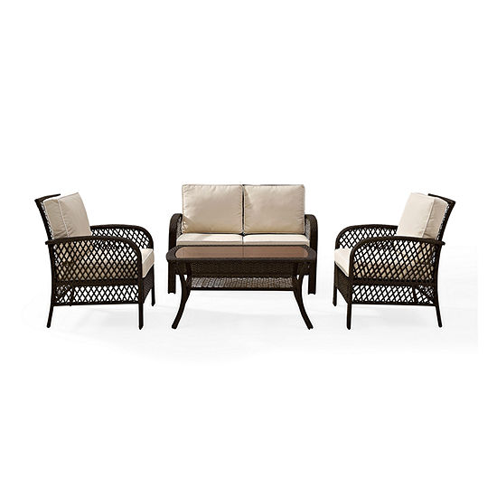 Crosley Tribeca 4 Piece Outdoor Wicker Seating Set In Brown With Sand Cusions - Loveseat 2 Arm Chairs And Coffee Table 4-pc. Conversation Set