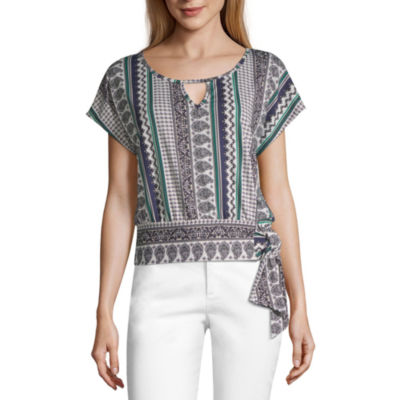 by&by Womens Keyhole Neck Short Sleeve Knit Blouse-Juniors