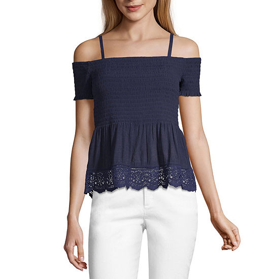by&by Womens Square Neck Short Sleeve Blouse-Juniors