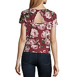 by&by Womens Round Neck Short Sleeve Knit Blouse-Juniors