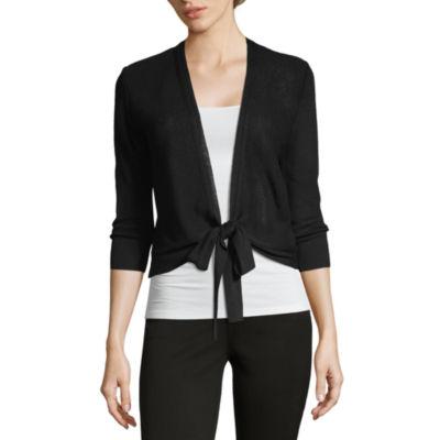 212 NY Womens 3/4 Sleeve Tie Cardigan