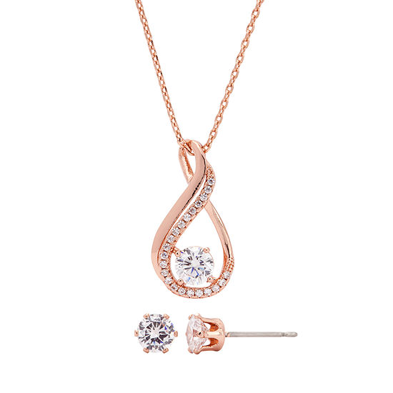 Sparkle Allure 2-pc. Cubic Zirconia 18K Rose Gold Over Brass 16 Inch Cable Pendant Necklace