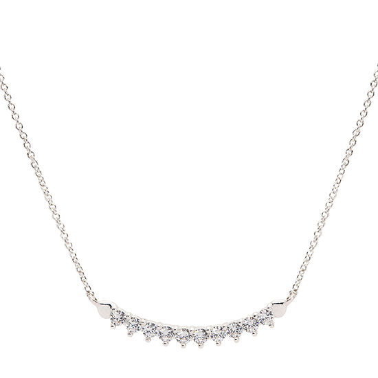 Sparkle Allure Cz Box Womens 1 CT. T.W. Clear Pure Silver Over Brass Pendant Necklace