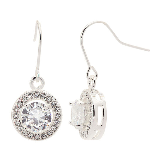 Sparkle Allure Made With Swarovski Crystals 1 Pair Pure Silver Over Brass Drop Earrings