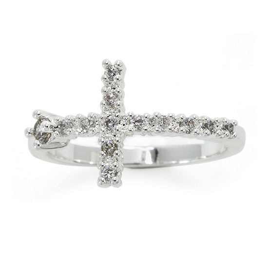 Sparkle Allure Cubic Zirconia Pure Silver Over Brass Delicate Cocktail Ring