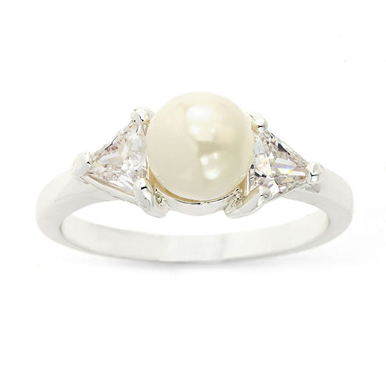 Sparkle Allure Simulated Pearl Pure Silver Over Brass Cocktail Ring