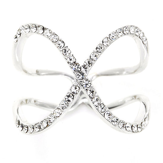 Sparkle Allure Crystal Pure Silver Over Brass Crossover Cocktail Ring
