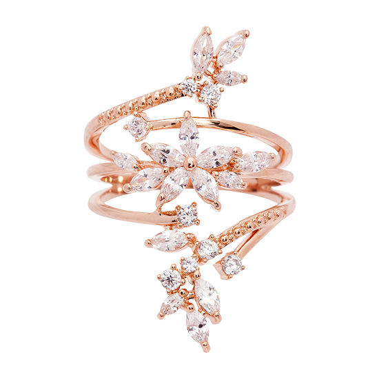 Sparkle Allure Cubic Zirconia 14k Rose Gold Over Brass Cocktail Ring