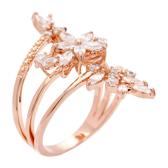 Sparkle Allure White Cubic Zirconia 14k Rose Gold Over Brass