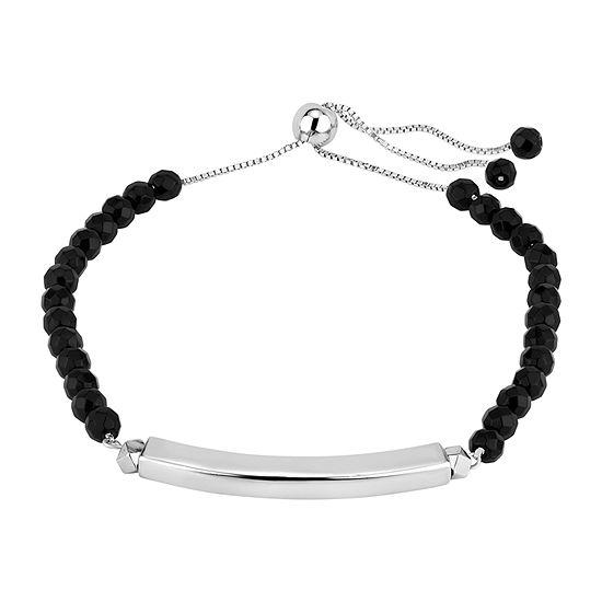 Genuine Black Onyx Sterling Silver Bolo Bracelet