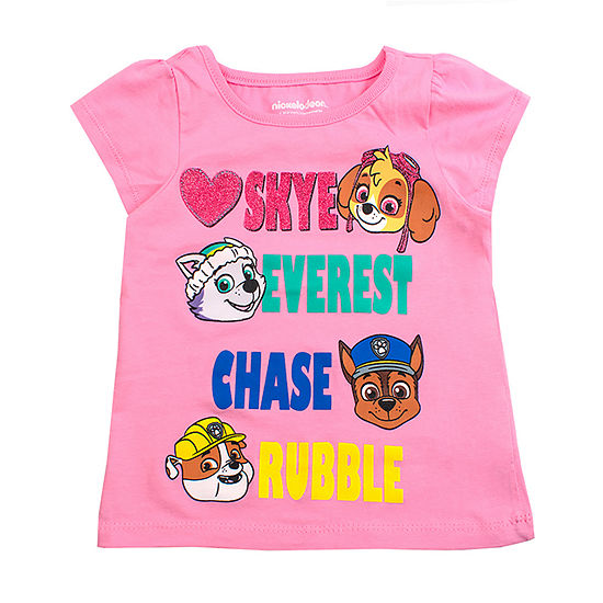 License Tees Girls Round Neck Short Sleeve Paw Patrol Graphic T-Shirt-Toddler