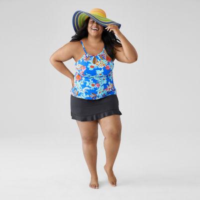 St. John's Bay Floral Tankini Swimsuit Top-Plus