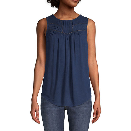 St. John's Bay Womens Round Neck Sleeveless Blouse