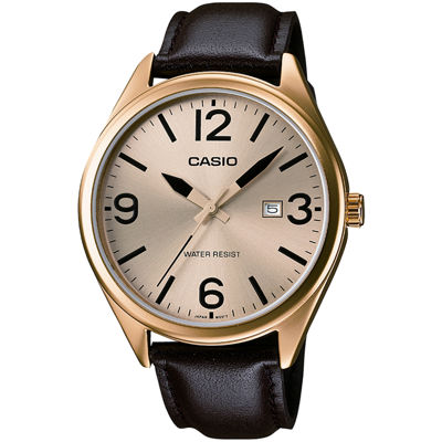 Casio® Mens Champagne Dial Brown Leather Strap Watch MTP1342L-9B