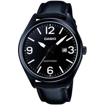 Casio® Mens Black Leather Strap Watch MTP1342L-1B1