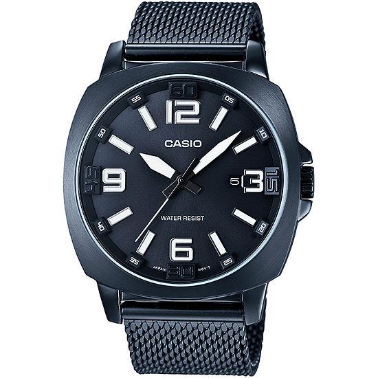 Casio® Mens Steel Gray Mesh Strap Watch MTP1350CD-8A1