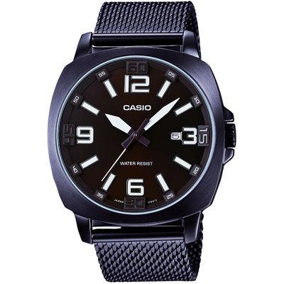 Casio® Mens Brown Steel Mesh Strap Watch MTP1350DD-5A