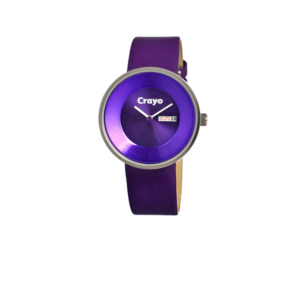 Crayo Unisex Button Purple Leather-Band Watch With Day&Date Cracr0201