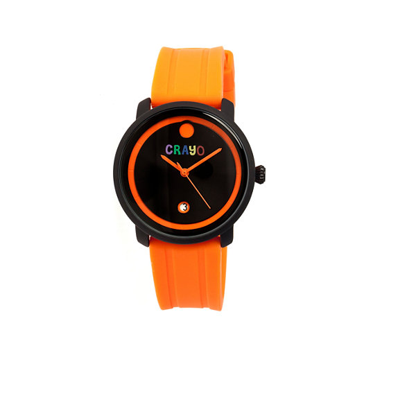 Crayo Unisex Fresh Orange Rubber-Strap Watch With Date Cracr0303