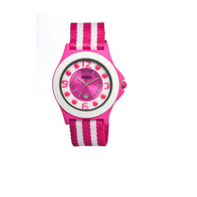 Crayo Womens Carnival Pink & White Nylon-Strap Watch With Date Cracr0705
