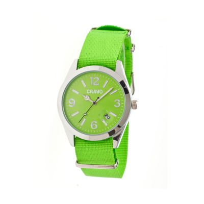 Crayo Women's Sunrise Lime Nylon-Band Watch with Date Cracr1705