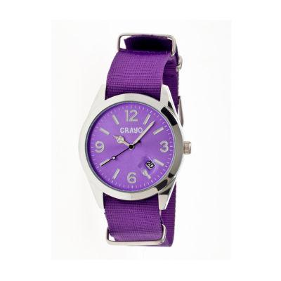 Crayo Women's Sunrise Purple Nylon-Band Watch with Date Cracr1707