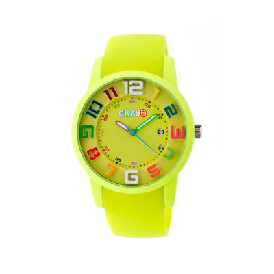 Crayo Women's Festival Lime Silicone-Band Watch with Date Cracr2002