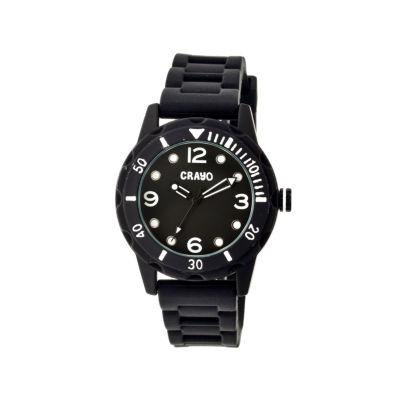 Crayo Unisex Splash Black Strap Watch Cracr2202