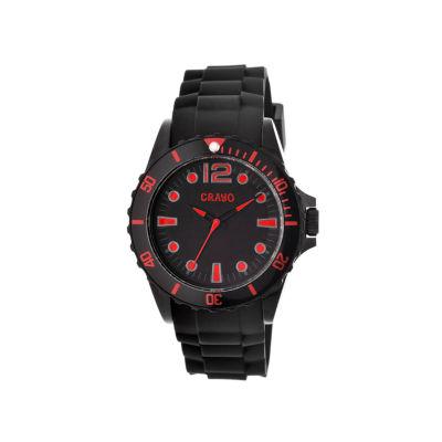 Crayo Unisex Fierce Black & Red Strap Watch