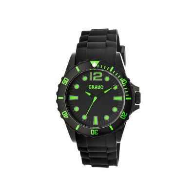 Crayo Unisex Fierce Black & Green Strap Watch