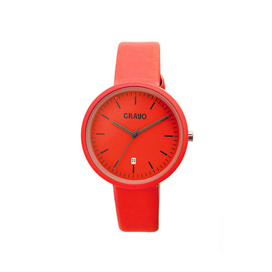 Crayo Womens Easy Red Leather-Band Watch With Date Cracr2403