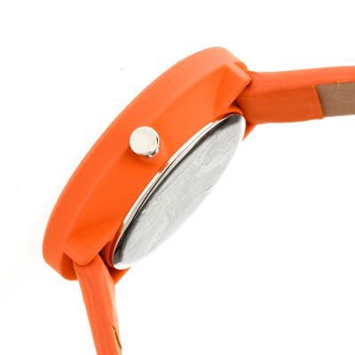 Crayo Womens Easy Orange Leather-Band Watch With Date Cracr2404