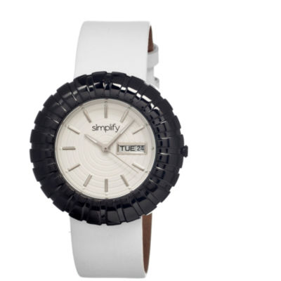 Simplify Womens The 2100 Black With White Dial Leather-Band Watch With Day&Date Sim2107