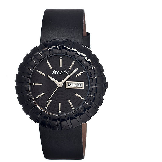 Simplify Womens The 2100 Black Leather-Band Watch with Day&Date SIM2108