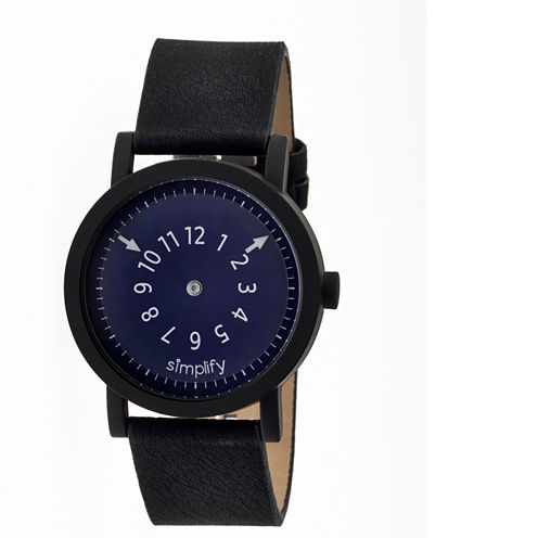 Simplify Unisex The 2300 Navy Dial Leather-Band Watch SIM2303