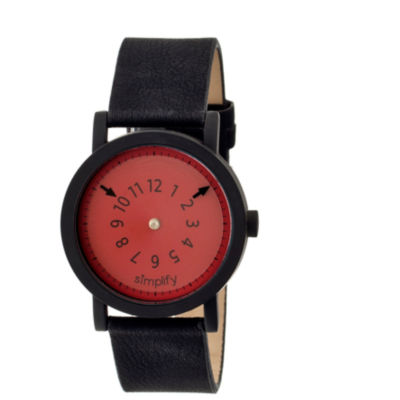Simplify Unisex The 2300 Red Dial Leather-Band Watch SIM2304